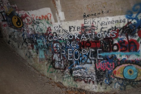 This is an overview of one of the walls with all of the art and graffiti in total.