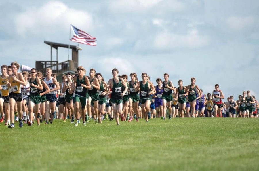 The+ZCHS+boys+cross+country+team+runs+in+the+meet+for+State+Champions+in+Terre+Haute+in+the+2017+season.