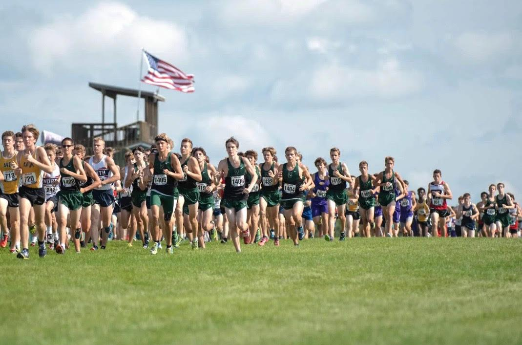 The ZCHS boys cross country team runs in the meet for State Champions in Terre Haute in the 2017 season.