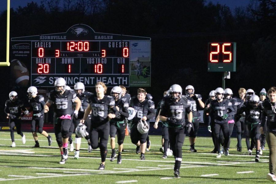 Zionsville+players+run+to+sideline+after+a+pregame+preparation.+