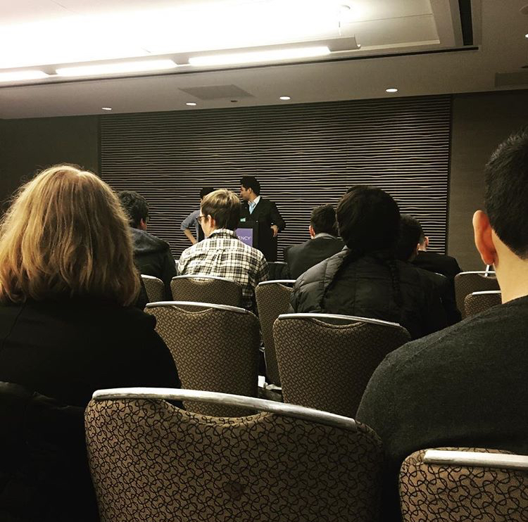 Zionsville Model United Nations club watches a presentation during their trip to Chicago. Photo provided by Brenna Ackert.